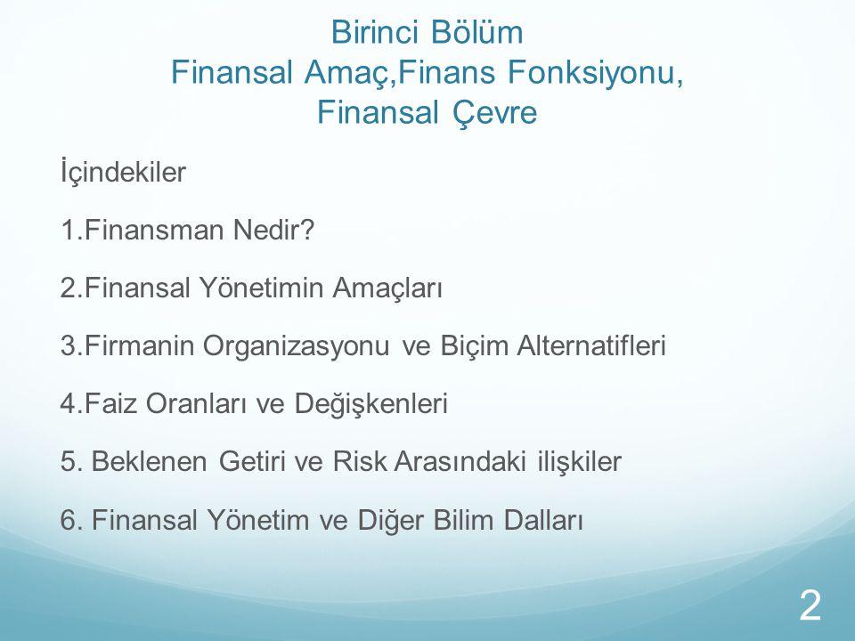 Birinci Bölüm Finansal Amaç,Finans Fonksiyonu, Finansal Çevre İçindekiler 1.Finansman Nedir? 2.Finansal Yönetimin Amaçları 3.Firmanin Organizasyonu ve