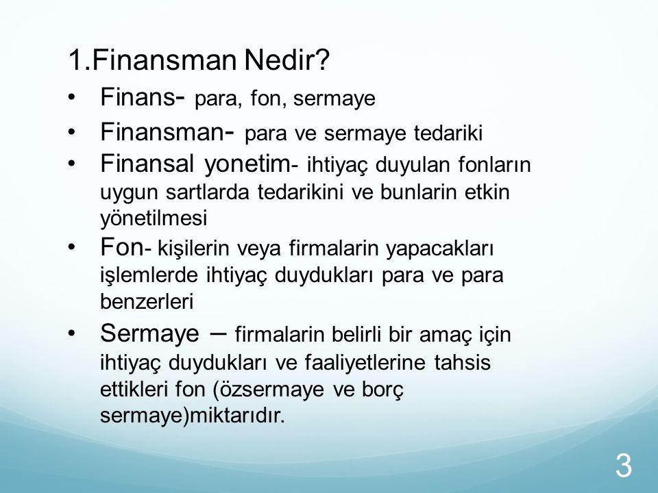 1.Finansman Nedir? Finans - para, fon, sermaye Finansman - para ve sermaye tedariki Finansal yonetim - ihtiyaç duyulan fonların uygun sartlarda tedari