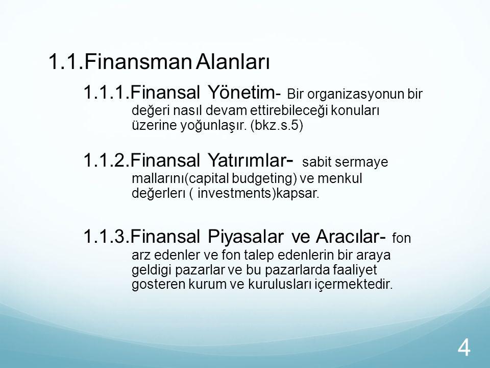 1.1.Finansman Alanları 1.1.1.Finansal Yönetim - Bir organizasyonun bir değeri nasıl devam ettirebileceği konuları üzerine yoğunlaşır. (bkz.s.5) 1.1.2.