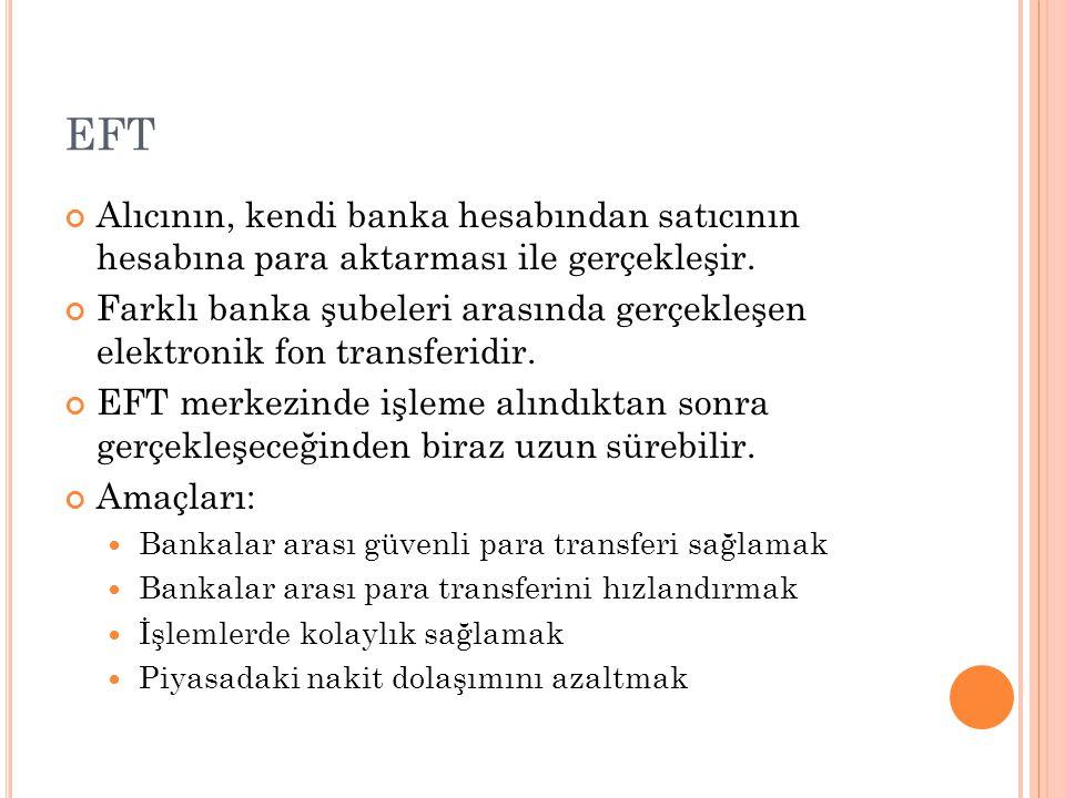 EFT Alıcının, kendi banka hesabından satıcının hesabına para aktarması ile gerçekleşir.