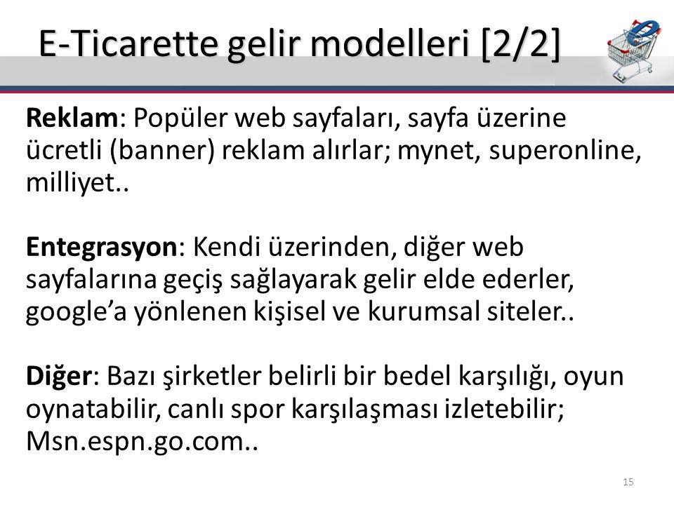 E-Ticarette gelir modelleri [2/2] Reklam: Popüler web sayfaları, sayfa üzerine ücretli (banner) reklam alırlar; mynet, superonline, milliyet.. Entegra
