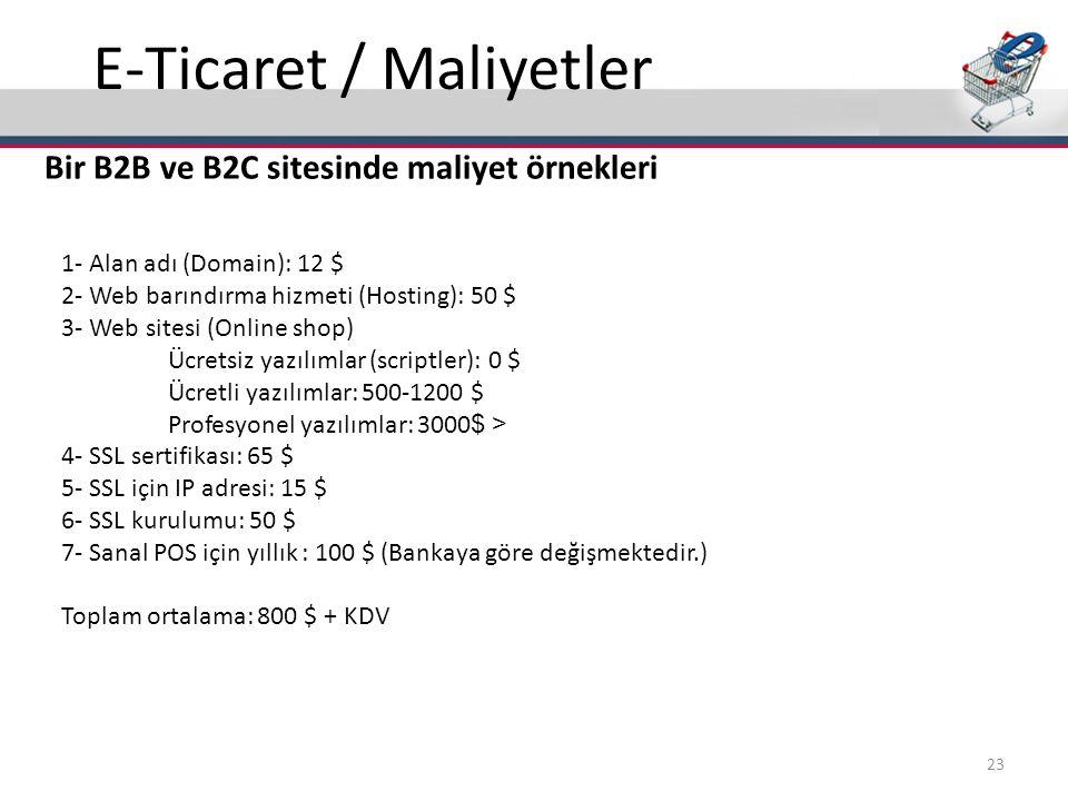 E-Ticaret / Maliyetler Bir B2B ve B2C sitesinde maliyet örnekleri 1- Alan adı (Domain): 12 $ 2- Web barındırma hizmeti (Hosting): 50 $ 3- Web sitesi (