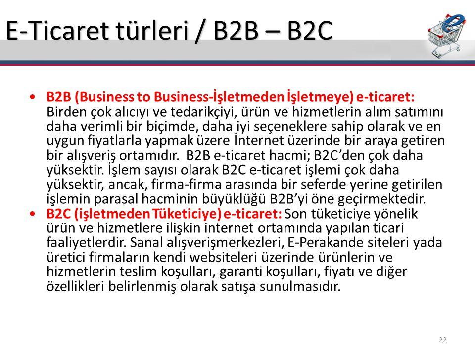 E-Ticaret türleri / B2B – B2C B2B (Business to Business-İşletmeden İşletmeye) e-ticaret: Birden çok alıcıyı ve tedarikçiyi, ürün ve hizmetlerin alım s