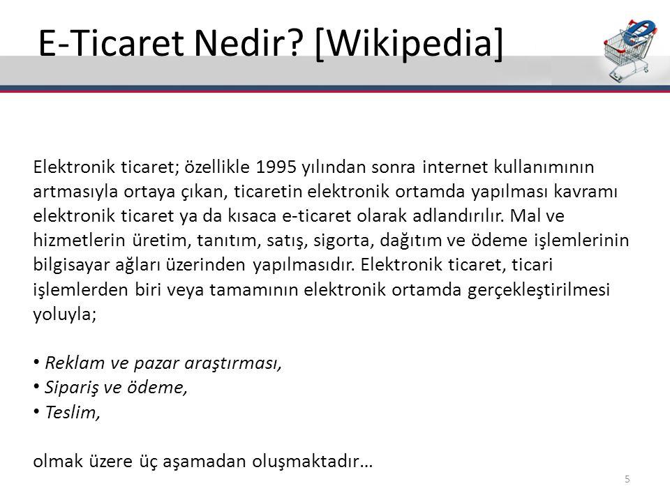 E-Ticaret Nedir? [Wikipedia] Elektronik ticaret; özellikle 1995 yılından sonra internet kullanımının artmasıyla ortaya çıkan, ticaretin elektronik ort