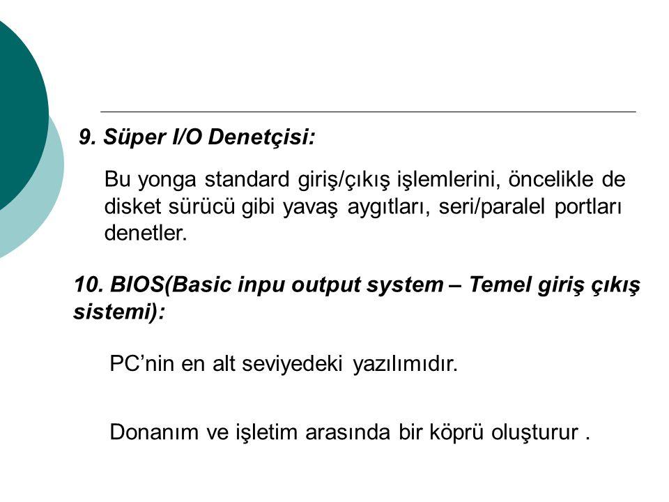 9. Süper I/O Denetçisi: Bu yonga standard giriş/çıkış işlemlerini, öncelikle de disket sürücü gibi yavaş aygıtları, seri/paralel portları denetler. 10