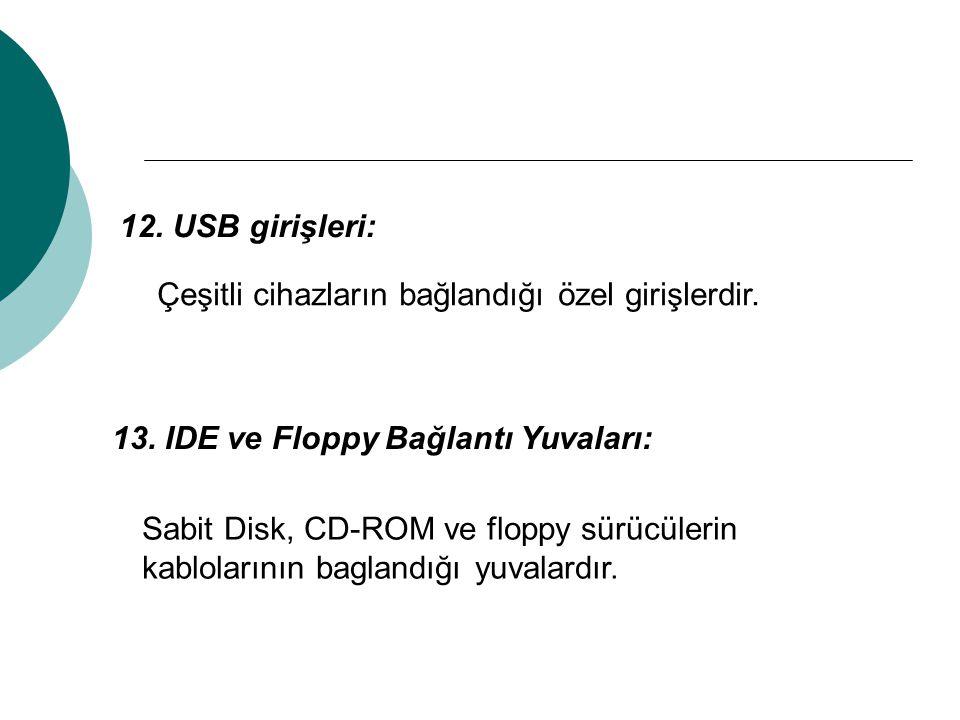 12. USB girişleri: Çeşitli cihazların bağlandığı özel girişlerdir. 13. IDE ve Floppy Bağlantı Yuvaları: Sabit Disk, CD-ROM ve floppy sürücülerin kablo