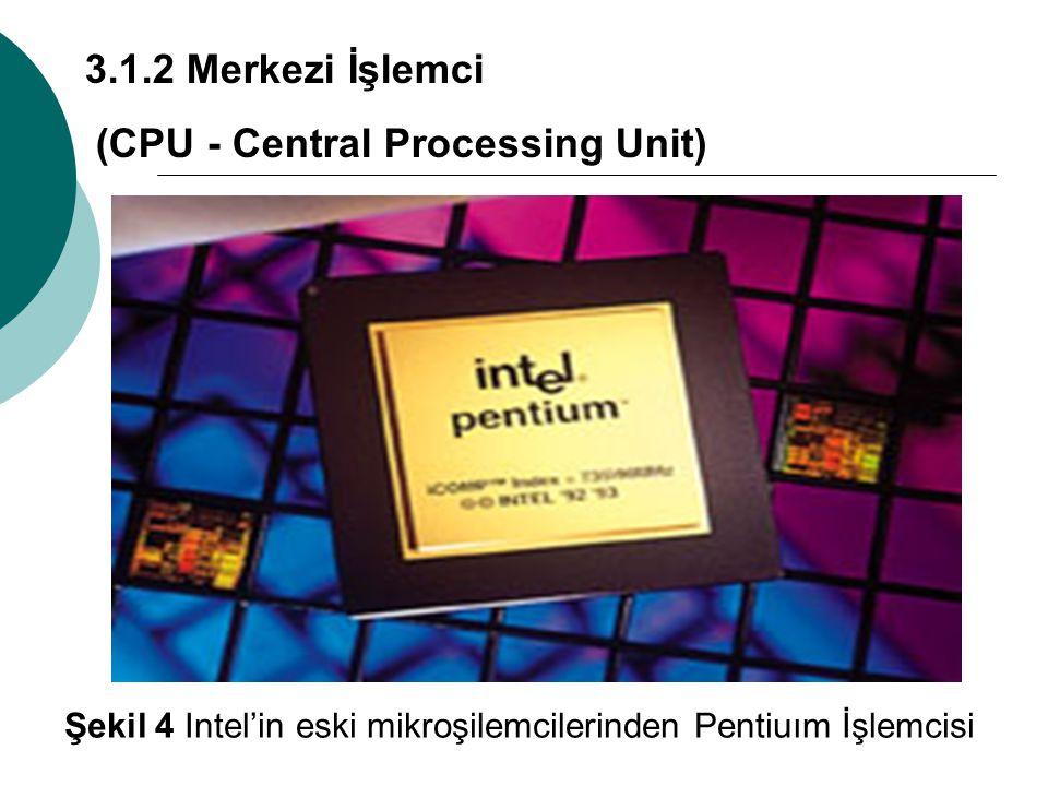 3.1.2 Merkezi İşlemci (CPU - Central Processing Unit) Şekil 4 Intel'in eski mikroşilemcilerinden Pentiuım İşlemcisi