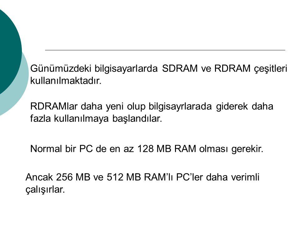 Günümüzdeki bilgisayarlarda SDRAM ve RDRAM çeşitleri kullanılmaktadır. RDRAMlar daha yeni olup bilgisayrlarada giderek daha fazla kullanılmaya başland
