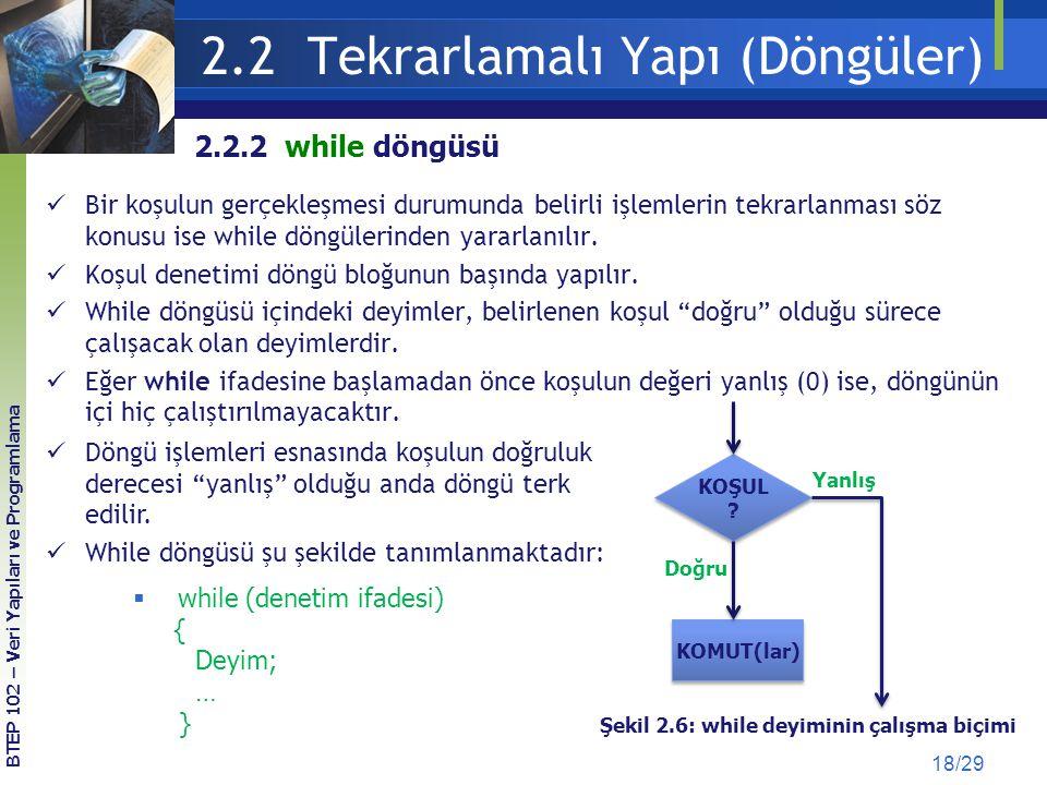2.2 Tekrarlamalı Yapı (Döngüler) 18/29 Bir koşulun gerçekleşmesi durumunda belirli işlemlerin tekrarlanması söz konusu ise while döngülerinden yararla