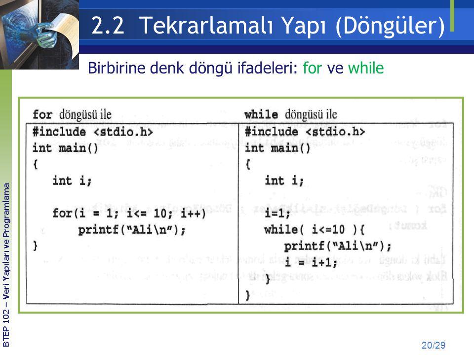 2.2 Tekrarlamalı Yapı (Döngüler) 20/29 Birbirine denk döngü ifadeleri: for ve while BTEP 102 – Veri Yapıları ve Programlama