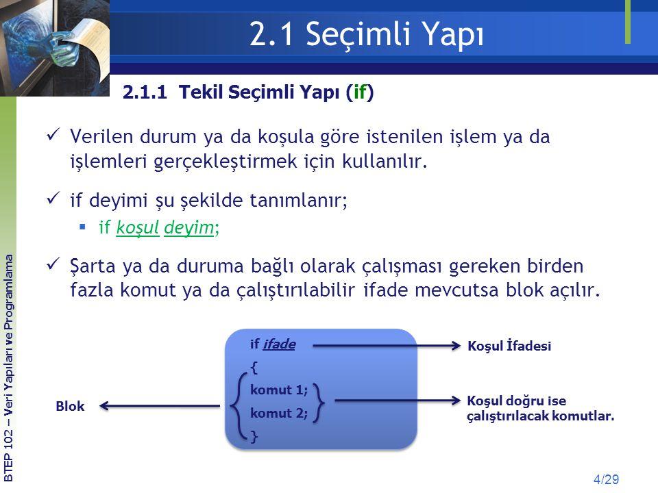 2.1 Seçimli Yapı 4/29 BTEP 102 – Veri Yapıları ve Programlama Verilen durum ya da koşula göre istenilen işlem ya da işlemleri gerçekleştirmek için kul