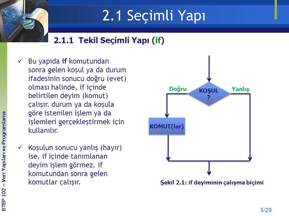 2.1 Seçimli Yapı 5/29 BTEP 102 – Veri Yapıları ve Programlama Bu yapıda if komutundan sonra gelen koşul ya da durum ifadesinin sonucu doğru (evet) olm