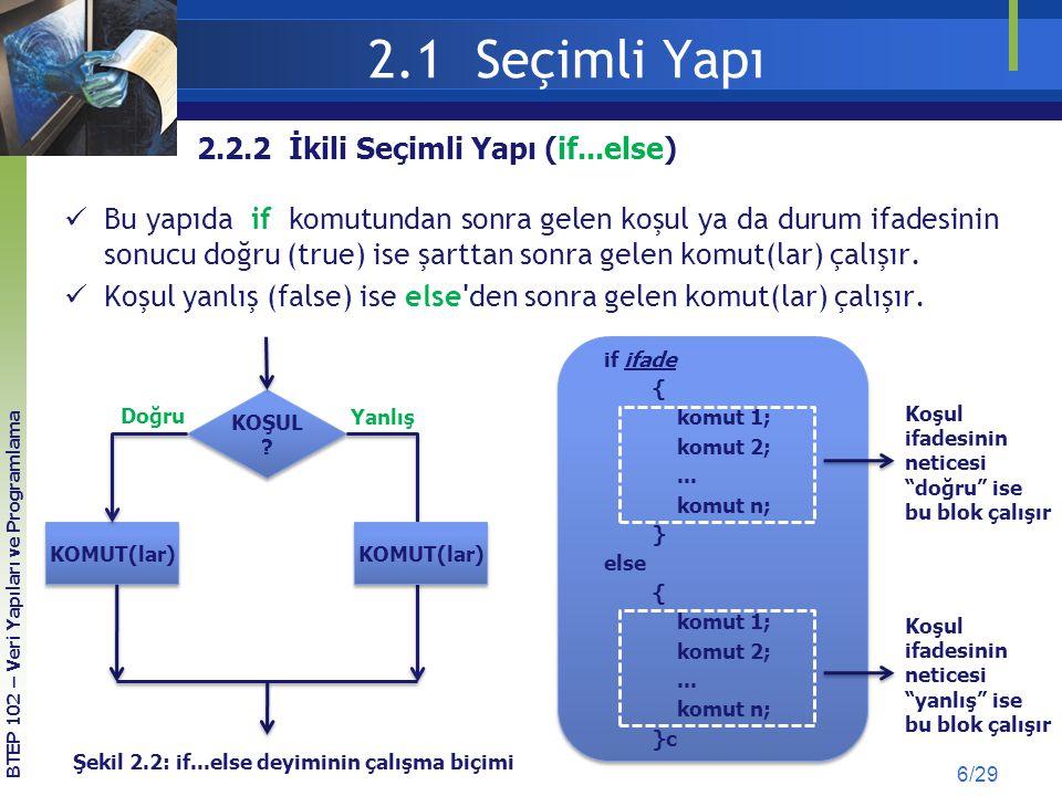 2.2 Tekrarlamalı Yapı (Döngüler) 17/29 for döngüsü (örnek) KOD 2.6 2'den 100'e Kadar Olan Çift Sayıların Toplamı #include int main(void) { int toplam = 0; /* Toplamı tanımla ve ilk değerini sıfırla */ int sayi; /* sayı adında kontrol degiskenini tanımla */ for (sayi = 2; sayi <= 100; sayi += 2) /* sayı ilk degerini 2 yap */ /* sayı degerini her tekrarda 2 arttır */ { /* sayı degeri 100'e esit ve küçük oldugu sürece kod bloğunu işlet*/ toplam += sayi; /* sayıyı toplama ekle */ } printf( Toplam = %d ,toplam); /* toplamı ekrana yazdır */ return 0; /* fonksiyondan çık */ } BTEP 102 – Veri Yapıları ve Programlama