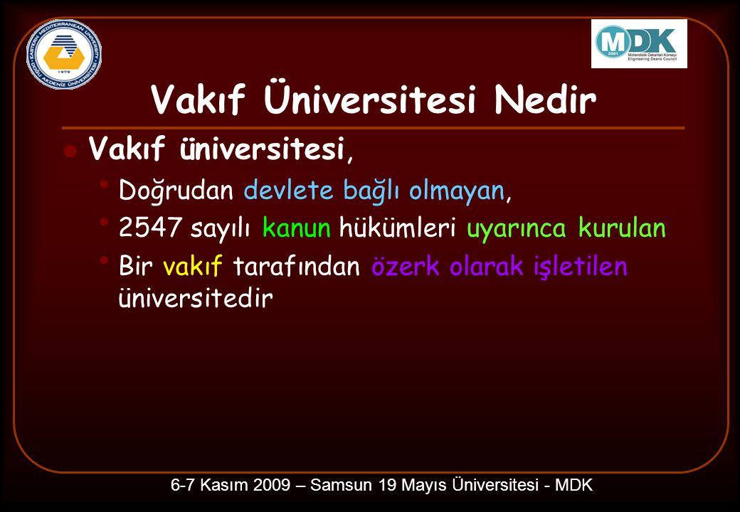Vakıf Üniversitesi Nedir Vakıf üniversitesi, Doğrudan devlete bağlı olmayan, 2547 sayılı kanun hükümleri uyarınca kurulan Bir vakıf tarafından özerk olarak işletilen üniversitedir 6-7 Kasım 2009 – Samsun 19 Mayıs Üniversitesi - MDK