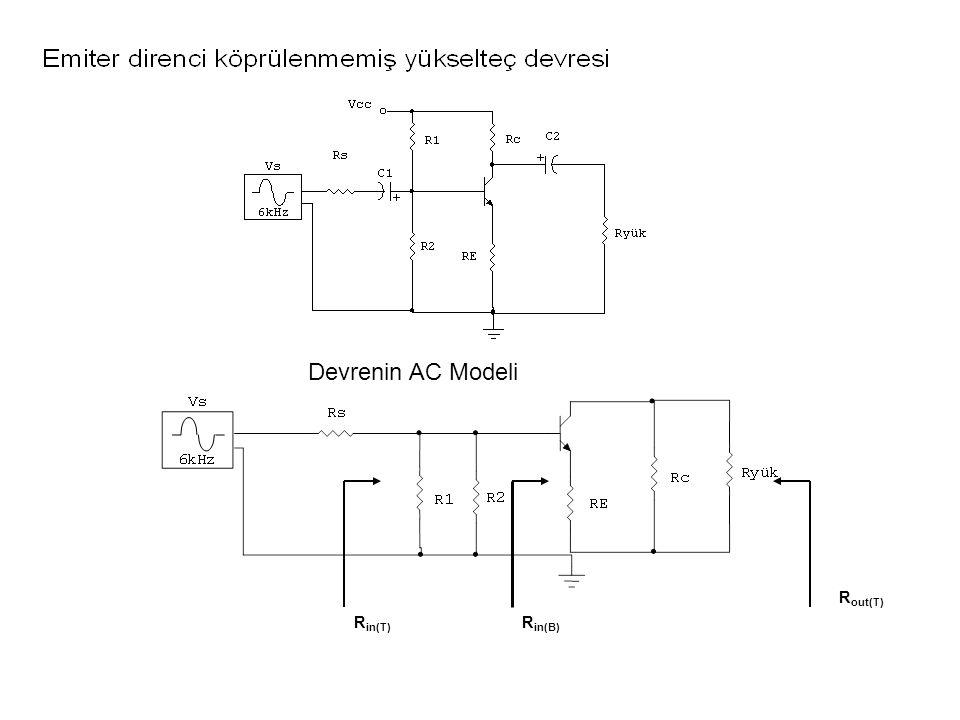 R in(B) R in(T) R out(T) Devrenin AC Modeli