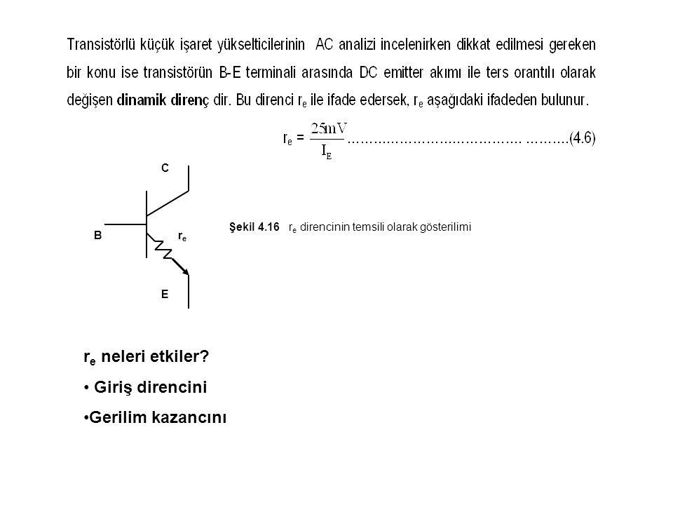 rere B E C Şekil 4.16 r e direncinin temsili olarak gösterilimi r e neleri etkiler? Giriş direncini Gerilim kazancını