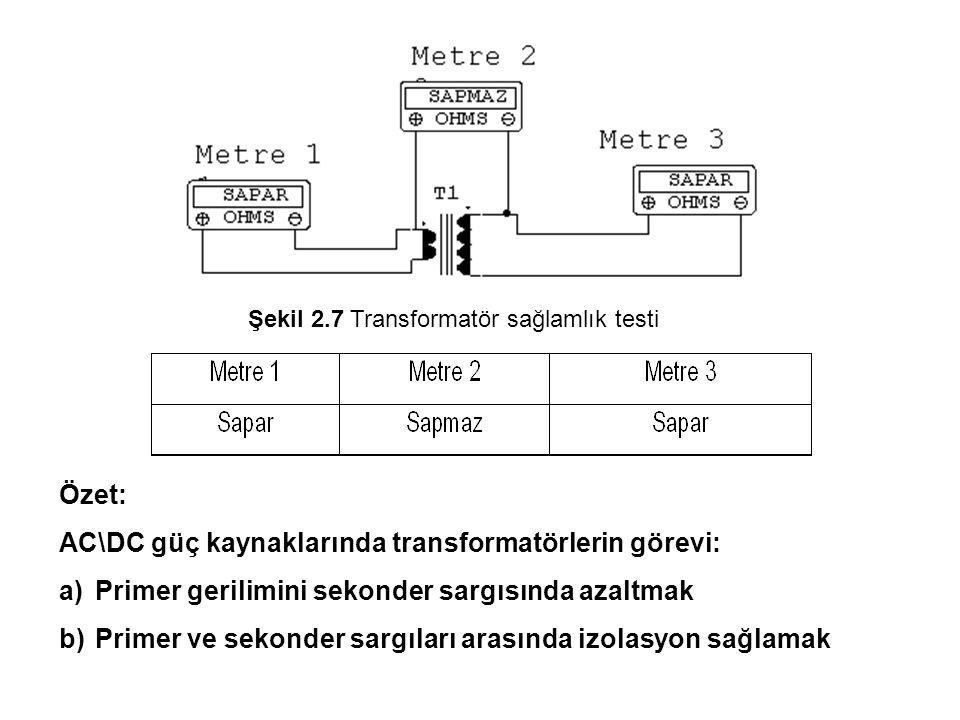 Şekil 2.7 Transformatör sağlamlık testi Özet: AC\DC güç kaynaklarında transformatörlerin görevi: a)Primer gerilimini sekonder sargısında azaltmak b)Pr