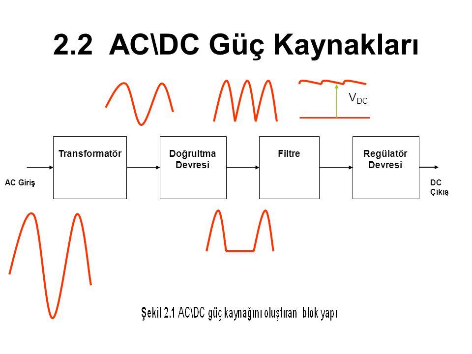 2.2 AC\DC Güç Kaynakları TransformatörDoğrultma Devresi FiltreRegülatör Devresi AC GirişDC Çıkış V DC