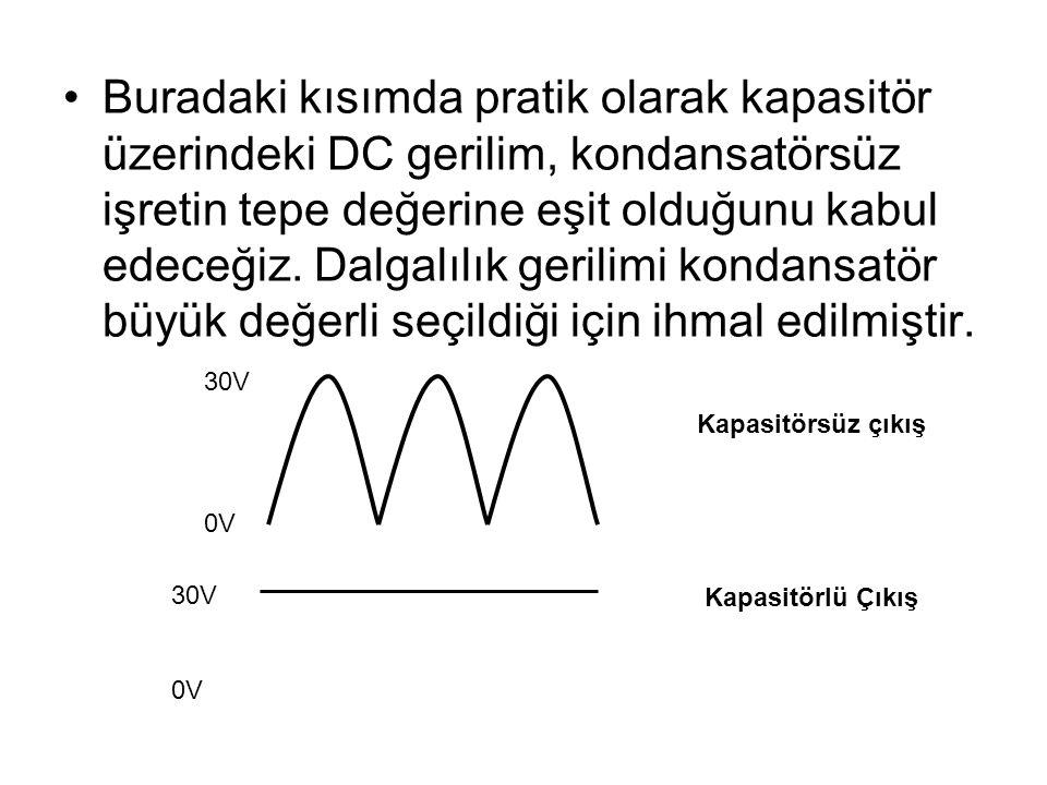 Buradaki kısımda pratik olarak kapasitör üzerindeki DC gerilim, kondansatörsüz işretin tepe değerine eşit olduğunu kabul edeceğiz. Dalgalılık gerilimi