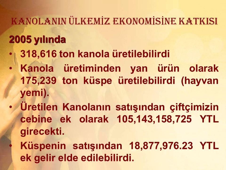KANOLANIN ÜLKEM İ Z EKONOM İ S İ NE KATKISI 2005 yılında 318,616 ton kanola üretilebilirdi Kanola üretiminden yan ürün olarak 175,239 ton küspe üretil