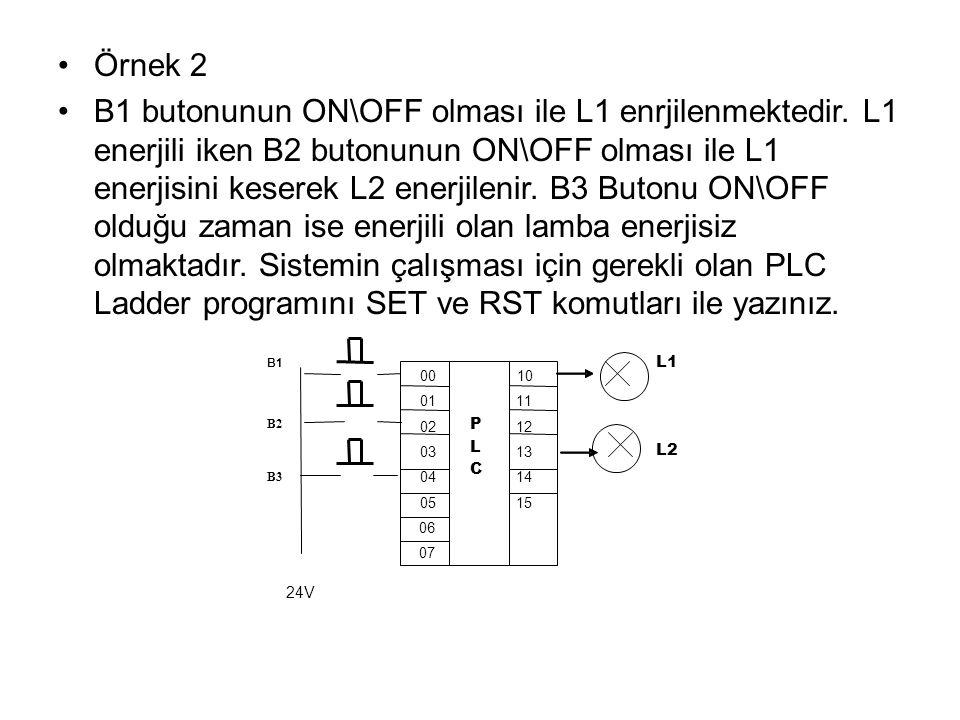 Örnek 2 B1 butonunun ON\OFF olması ile L1 enrjilenmektedir.