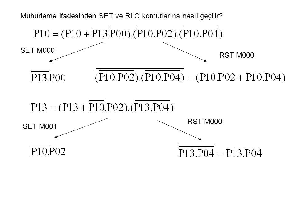 Mühürleme ifadesinden SET ve RLC komutlarına nasıl geçilir? SET M000 RST M000 SET M001 RST M000