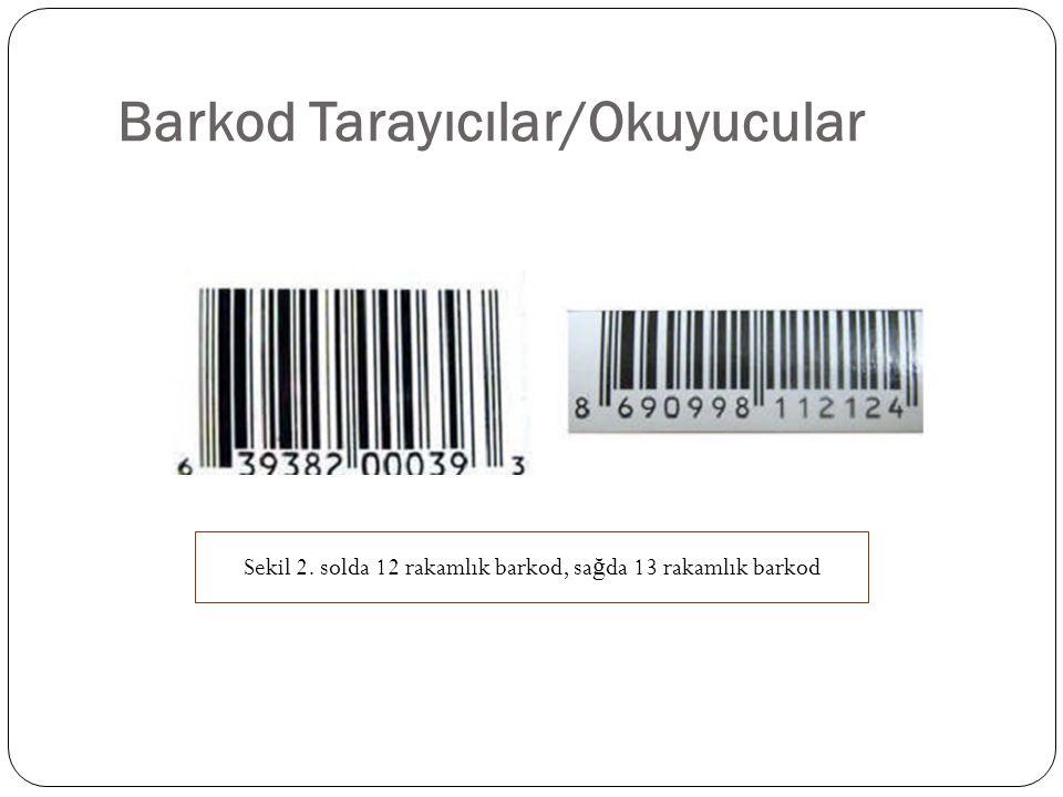 Barkod Tarayıcılar/Okuyucular Sekil 2. solda 12 rakamlık barkod, sa ğ da 13 rakamlık barkod
