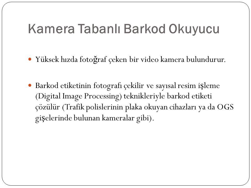 Kamera Tabanlı Barkod Okuyucu Yüksek hızda foto ğ raf çeken bir video kamera bulundurur. Barkod etiketinin fotografı çekilir ve sayısal resim i ş leme