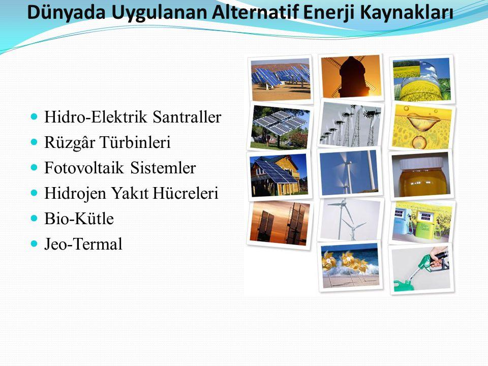 Dünyada Uygulanan Alternatif Enerji Kaynakları Hidro-Elektrik Santraller Rüzgâr Türbinleri Fotovoltaik Sistemler Hidrojen Yakıt Hücreleri Bio-Kütle Je