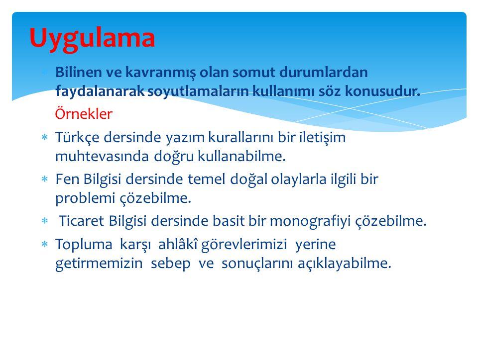  Bilinen ve kavranmış olan somut durumlardan faydalanarak soyutlamaların kullanımı söz konusudur. Örnekler  Türkçe dersinde yazım kurallarını bir il
