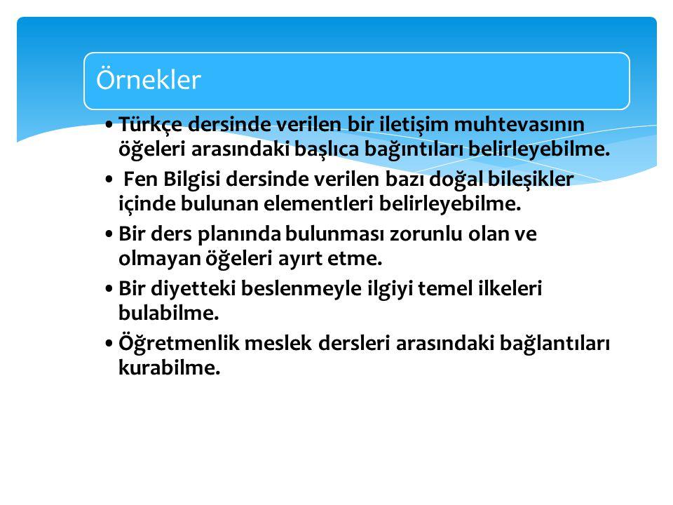 Örnekler Türkçe dersinde verilen bir iletişim muhtevasının öğeleri arasındaki başlıca bağıntıları belirleyebilme. Fen Bilgisi dersinde verilen bazı do