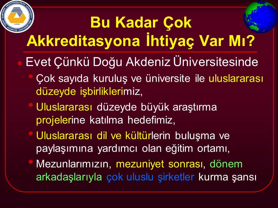 Bu Kadar Çok Akkreditasyona İhtiyaç Var Mı? Evet Çünkü Doğu Akdeniz Üniversitesinde Çok sayıda kuruluş ve üniversite ile uluslararası düzeyde işbirlik