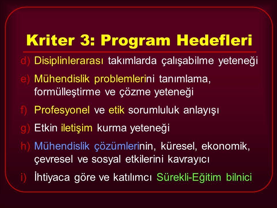 Kriter 3: Program Hedefleri d)Disiplinlerarası takımlarda çalışabilme yeteneği e)Mühendislik problemlerini tanımlama, formülleştirme ve çözme yeteneği