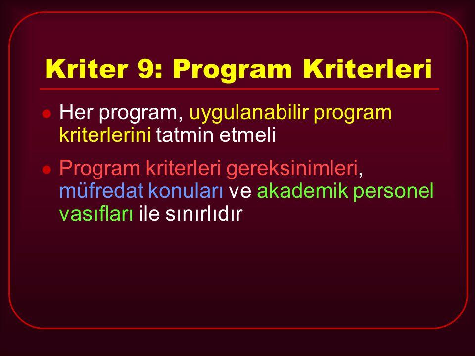 Kriter 9: Program Kriterleri Her program, uygulanabilir program kriterlerini tatmin etmeli Program kriterleri gereksinimleri, müfredat konuları ve aka