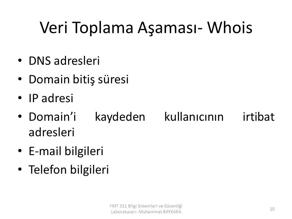 Veri Toplama Aşaması- Whois DNS adresleri Domain bitiş süresi IP adresi Domain'i kaydeden kullanıcının irtibat adresleri E-mail bilgileri Telefon bilgileri 10 YMT 311 Bilgi Sistemleri ve Güvenliği Laboratuvarı- Muhammet BAYKARA
