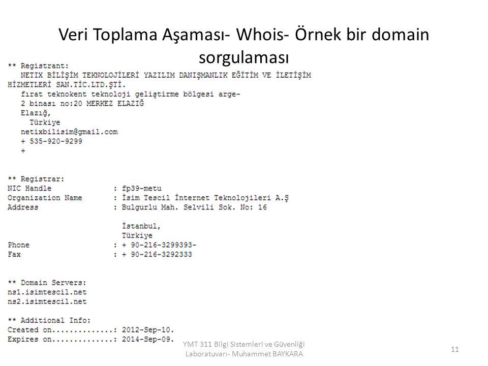 Veri Toplama Aşaması- Whois- Örnek bir domain sorgulaması 11 YMT 311 Bilgi Sistemleri ve Güvenliği Laboratuvarı- Muhammet BAYKARA