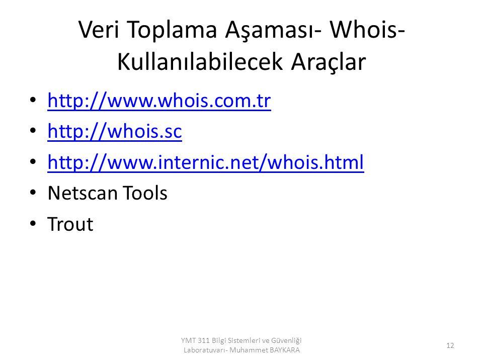 Veri Toplama Aşaması- Whois- Kullanılabilecek Araçlar http://www.whois.com.tr http://whois.sc http://www.internic.net/whois.html Netscan Tools Trout 12 YMT 311 Bilgi Sistemleri ve Güvenliği Laboratuvarı- Muhammet BAYKARA