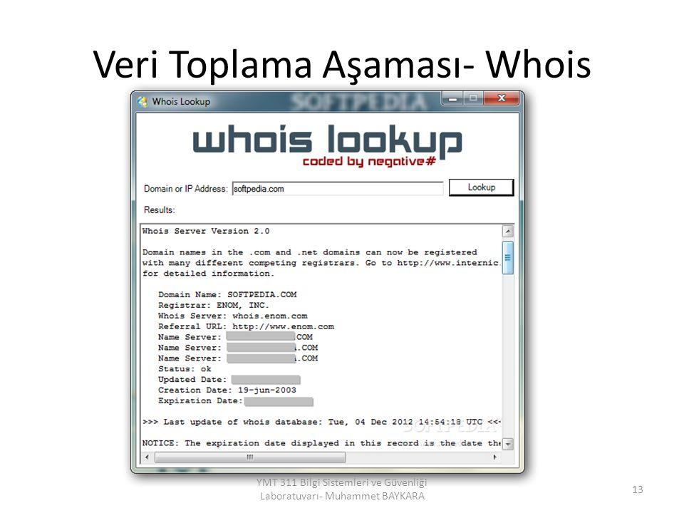 Veri Toplama Aşaması- Whois 13 YMT 311 Bilgi Sistemleri ve Güvenliği Laboratuvarı- Muhammet BAYKARA