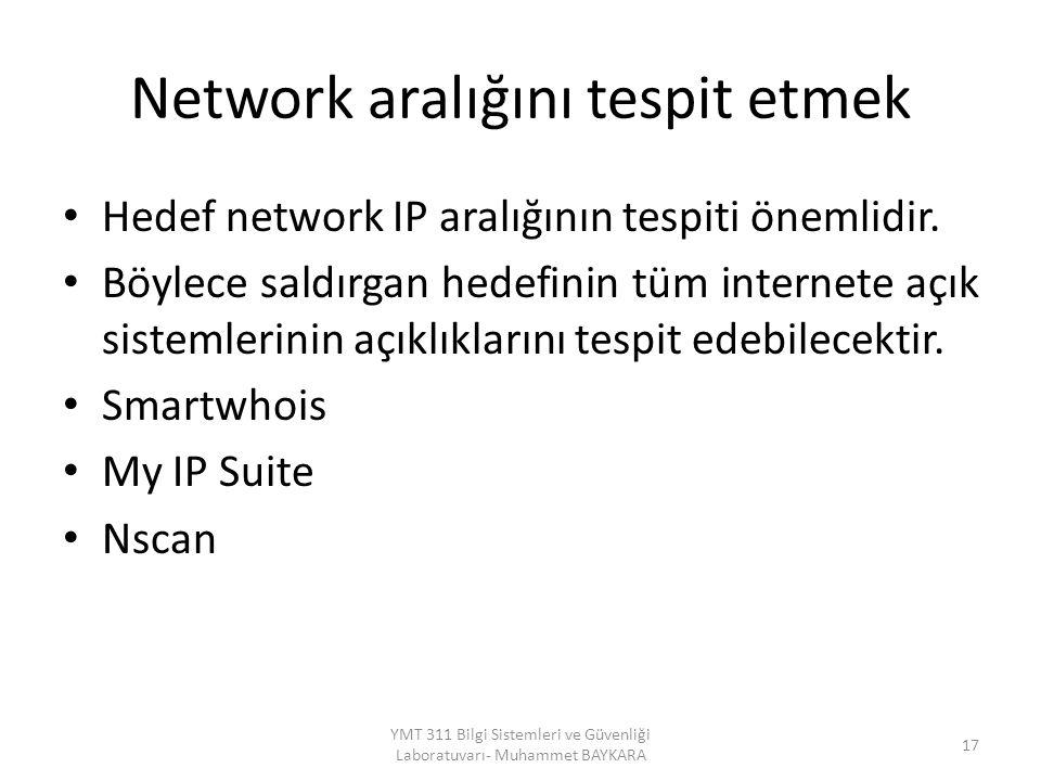 Network aralığını tespit etmek Hedef network IP aralığının tespiti önemlidir. Böylece saldırgan hedefinin tüm internete açık sistemlerinin açıklıkları