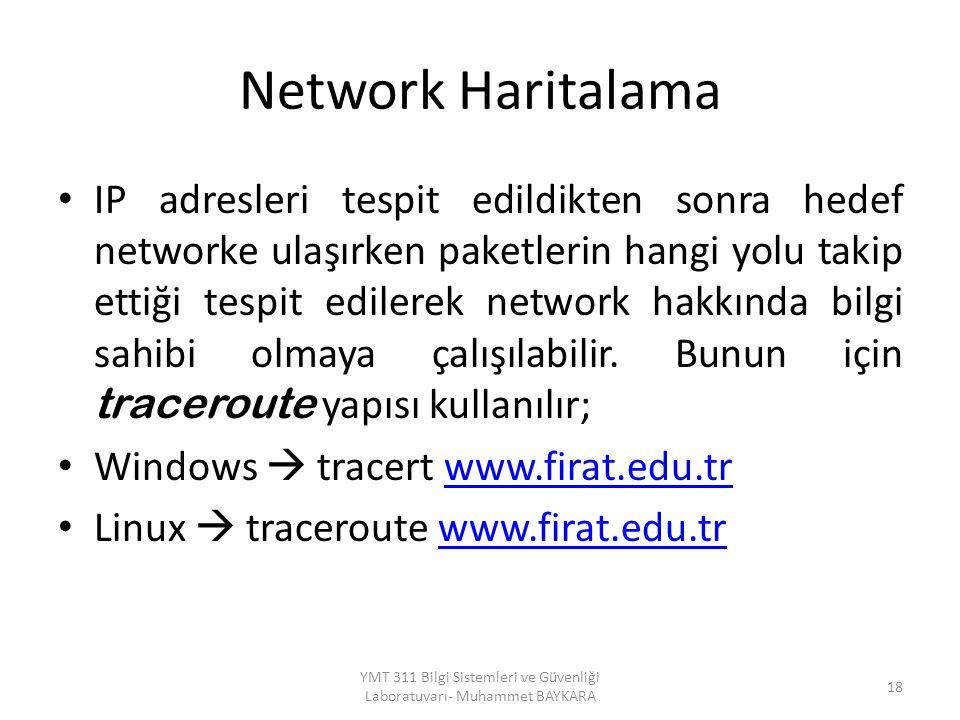 Network Haritalama IP adresleri tespit edildikten sonra hedef networke ulaşırken paketlerin hangi yolu takip ettiği tespit edilerek network hakkında bilgi sahibi olmaya çalışılabilir.