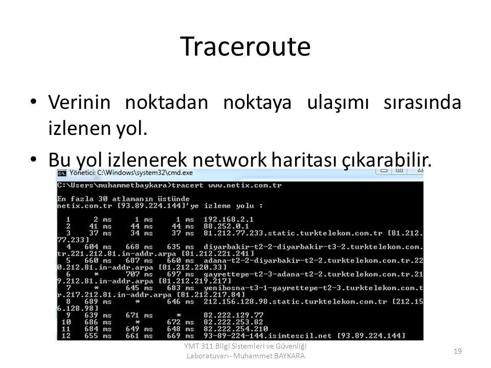 Traceroute Verinin noktadan noktaya ulaşımı sırasında izlenen yol. Bu yol izlenerek network haritası çıkarabilir. 19 YMT 311 Bilgi Sistemleri ve Güven
