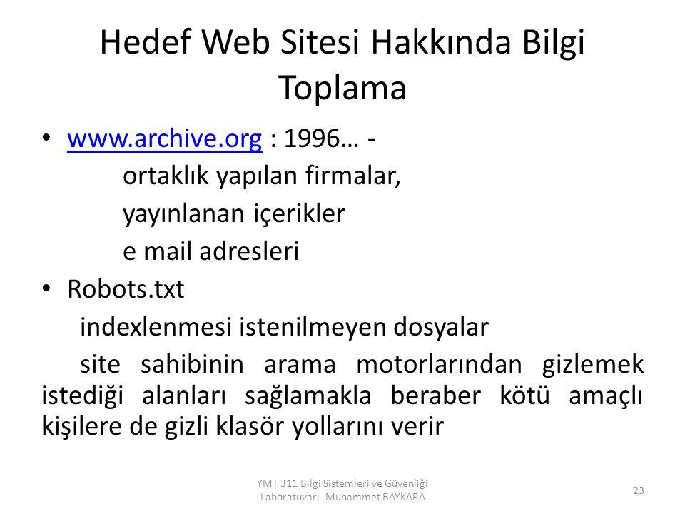 Hedef Web Sitesi Hakkında Bilgi Toplama www.archive.org : 1996… - www.archive.org ortaklık yapılan firmalar, yayınlanan içerikler e mail adresleri Rob