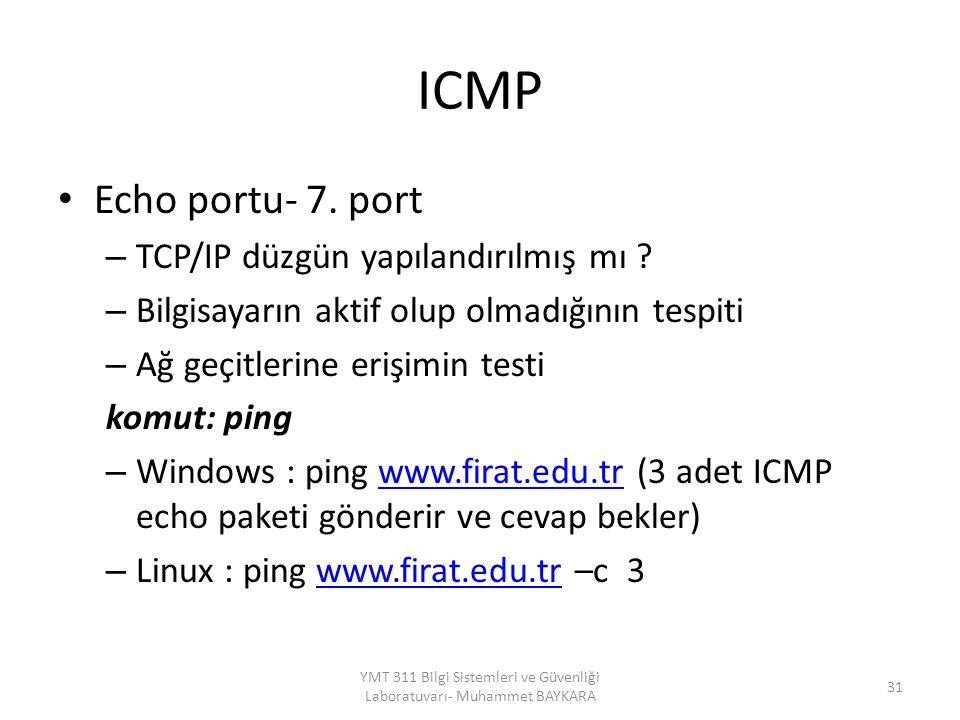 ICMP Echo portu- 7. port – TCP/IP düzgün yapılandırılmış mı ? – Bilgisayarın aktif olup olmadığının tespiti – Ağ geçitlerine erişimin testi komut: pin