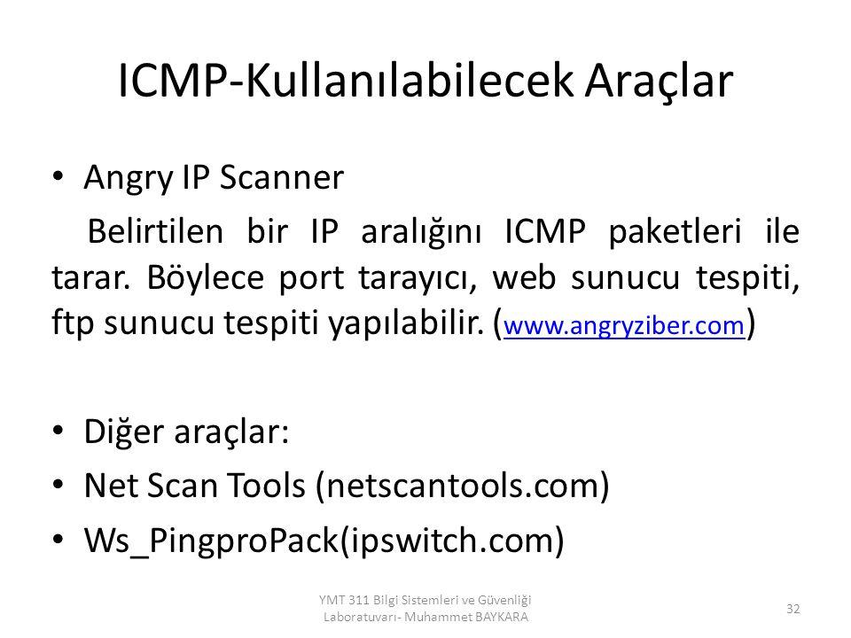 ICMP-Kullanılabilecek Araçlar Angry IP Scanner Belirtilen bir IP aralığını ICMP paketleri ile tarar. Böylece port tarayıcı, web sunucu tespiti, ftp su