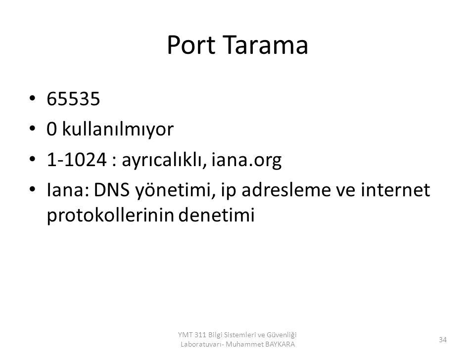 Port Tarama 65535 0 kullanılmıyor 1-1024 : ayrıcalıklı, iana.org Iana: DNS yönetimi, ip adresleme ve internet protokollerinin denetimi 34 YMT 311 Bilgi Sistemleri ve Güvenliği Laboratuvarı- Muhammet BAYKARA