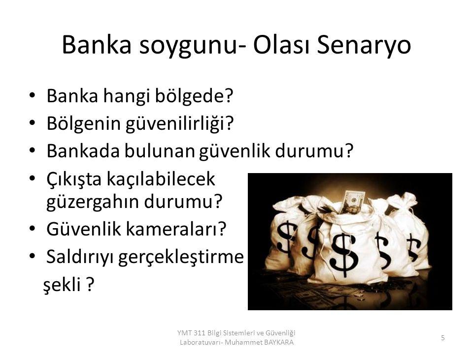 Banka soygunu- Olası Senaryo Banka hangi bölgede? Bölgenin güvenilirliği? Bankada bulunan güvenlik durumu? Çıkışta kaçılabilecek güzergahın durumu? Gü