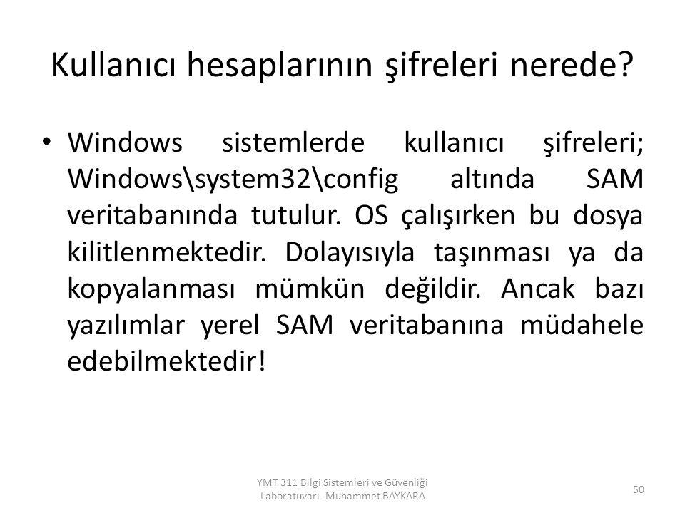 Kullanıcı hesaplarının şifreleri nerede? Windows sistemlerde kullanıcı şifreleri; Windows\system32\config altında SAM veritabanında tutulur. OS çalışı