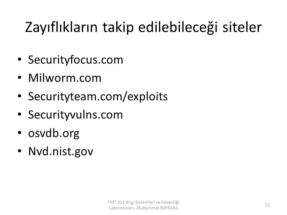Zayıflıkların takip edilebileceği siteler Securityfocus.com Milworm.com Securityteam.com/exploits Securityvulns.com osvdb.org Nvd.nist.gov 53 YMT 311 Bilgi Sistemleri ve Güvenliği Laboratuvarı- Muhammet BAYKARA
