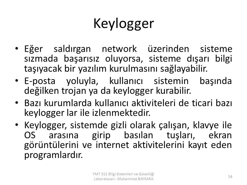 Keylogger Eğer saldırgan network üzerinden sisteme sızmada başarısız oluyorsa, sisteme dışarı bilgi taşıyacak bir yazılım kurulmasını sağlayabilir. E-