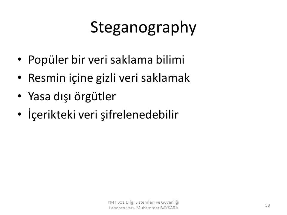 Steganography Popüler bir veri saklama bilimi Resmin içine gizli veri saklamak Yasa dışı örgütler İçerikteki veri şifrelenedebilir YMT 311 Bilgi Sistemleri ve Güvenliği Laboratuvarı- Muhammet BAYKARA 58